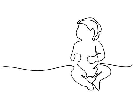Ilustración de Continuous line drawing - Cute baby sitting - Imagen libre de derechos