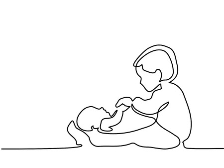 Illustration for Continuous line drawing. Happy toddler girl playing with her newborn baby brother. Vector illustration - Royalty Free Image