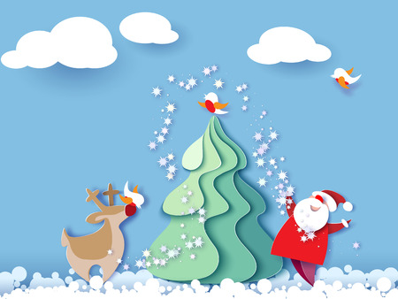 Ilustración de Color paper cut design and craft winter landscape with evergreen tree, reindeer, Santa, clouds. Holiday nature and christmas tree. Vector illustration. Merry Christmas card. - Imagen libre de derechos
