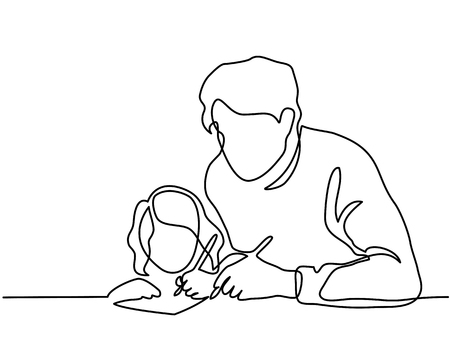 Illustration for Continuous Line Art Drawing. Father And Small Daughter Writing Letter To Santa Together. Vector Illustration. - Royalty Free Image