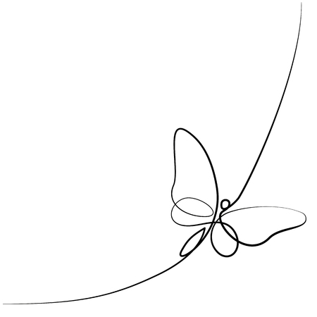 Illustration pour Continuous one line different width drawing. Flying butterfly logo. Black and white vector illustration. Concept for logo, card, banner, poster, flyer - image libre de droit