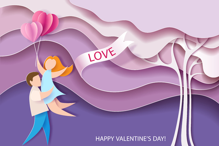 Illustration for Valentines day card. Abstract background with couple, hearts balloons and pink tree. Vector illustration. Paper cut and craft style. - Royalty Free Image