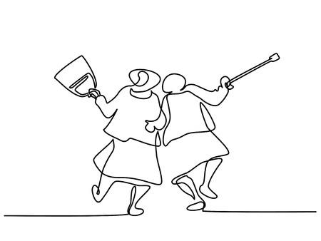 Foto de Continuous line drawing. Elderly women friends walking and dancing Vector illustration - Imagen libre de derechos