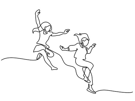 Illustration pour Happy jumping two girls. Continuous line drawing. Vector illustration on white background - image libre de droit