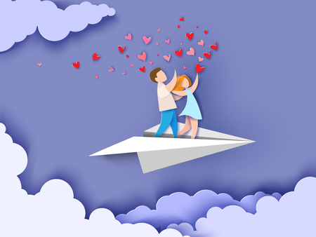 Illustration for Valentines day card. Abstract background with couple in love flying on paper airplane, hearts and blue sky. Vector illustration. Paper cut and craft style. - Royalty Free Image