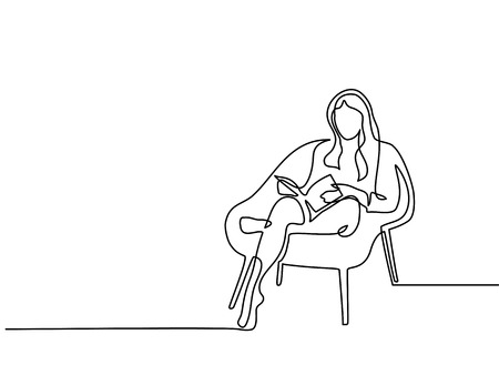 Ilustración de Continuous line drawing. Woman sitting with book in chair. Vector illustration - Imagen libre de derechos