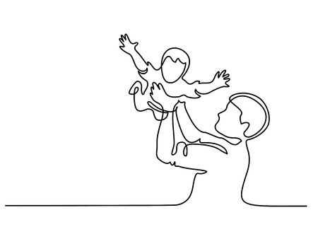 Continuous line drawing. Father holding happy son up in air vector illustration.