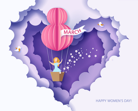 Ilustración de Card for 8 March womens day. Woman in basket of hot air balloon. Abstract background with text and flowers .Vector illustration. Paper cut and craft style. - Imagen libre de derechos