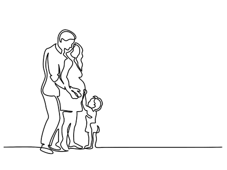 Illustration for Continuous line drawing. Happy pregnant woman with her husband and small son, silhouette picture. Vector illustration - Royalty Free Image