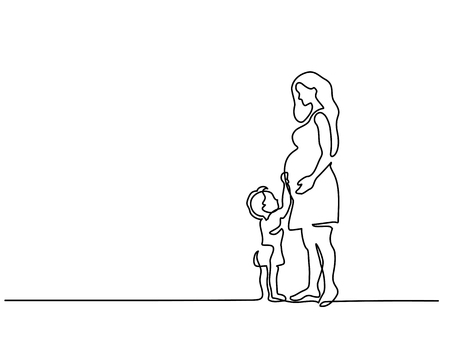 Illustration for Continuous line drawing. Happy pregnant woman with her small son, silhouette picture. Vector illustration - Royalty Free Image
