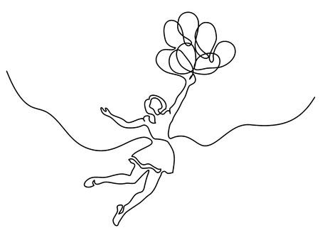 Ilustración de Continuous line drawing. Girl flying in air with balloons. Vector illustration - Imagen libre de derechos