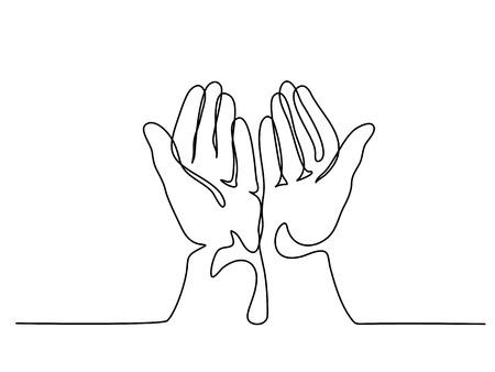 Ilustración de Continuous line drawing. Hands palms together praying. Vector illustration - Imagen libre de derechos