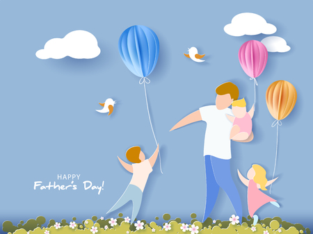 Illustration pour Handsome man with his children and color balloons. Happy fathers day card. Paper cut style. Vector illustration - image libre de droit