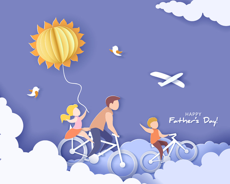 Illustration pour Handsome man and his children bicycling with air balloon. Happy fathers day card. Paper cut style. Vector illustration - image libre de droit