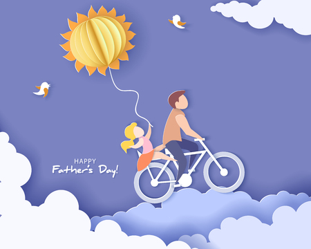 Illustration pour Handsome man and his daughter bicycling with air balloon sun shaped. Happy fathers day card. Paper cut style. Vector illustration - image libre de droit