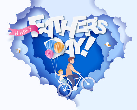 Illustration pour Handsome man and his son bicycling with air balloons. Happy fathers day card. Paper cut style. Vector illustration - image libre de droit