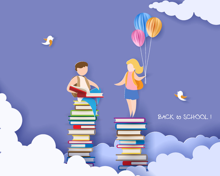 Photo pour Back to school 1 september card with boy and girl reading book on stack of books. Vector illustration. Paper cut and craft style. - image libre de droit