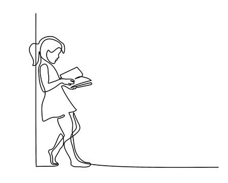 Ilustración de Continuous one line drawing. Girl reading book. Back to school concept. Vector illustration - Imagen libre de derechos