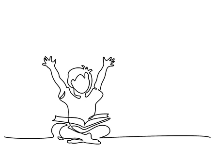 Ilustración de Continuous one line drawing. Happy boy reading open books sitting on floor. Vector illustration - Imagen libre de derechos
