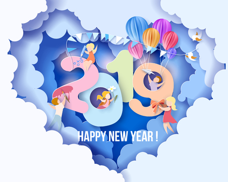 Illustration for 2019 New Year design card with kids, blue sky background. Vector illustration. Paper cut and craft style. - Royalty Free Image
