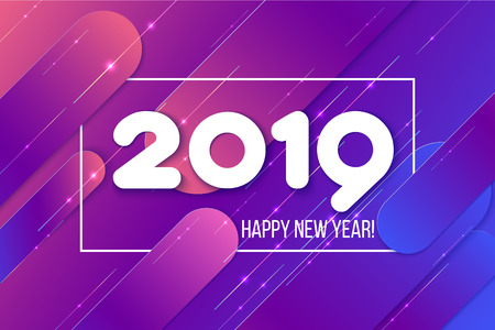 Ilustración de New Year 2019 card. Gradient purple shapes composition. Abdstract background. Vector illustration - Imagen libre de derechos