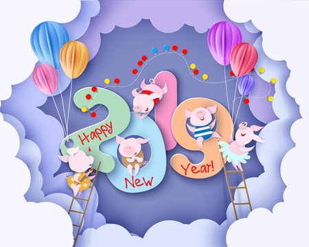 Ilustración de 2019 New Year design card with pigs on purple background with clouds. Vector illustration. Paper cut and craft style. - Imagen libre de derechos