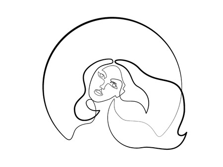 Illustration pour Continuous one different wide line drawing. Abstract portrait of pretty young woman with beautiful hair in round. Vector illustration - image libre de droit