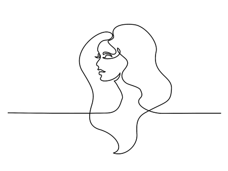 Illustration pour Continuous one line drawing. Abstract portrait of pretty young woman with beautiful hair. Vector illustration - image libre de droit