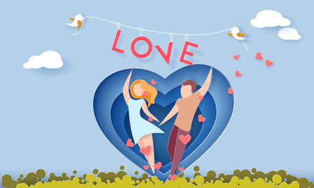 Illustration pour Valentines day card with couple holding hands in love running on green grass. Vector paper art illustration. Paper cut and craft style. - image libre de droit