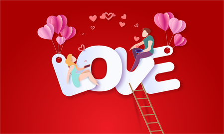 Illustration pour Valentines day card with couple sitting on big letters LOVE and sending red hearts with their smartphones. Vector paper art illustration. Paper cut and craft style. - image libre de droit