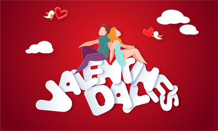 Illustration for Valentines day card with couple sitting and holding hands on big letters with red background. Vector paper art illustration. Paper cut and craft style. - Royalty Free Image
