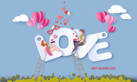 Illustration pour Valentines day card with couple sitting on big letters LOVE and sending red hearts with their smartphones on blue sky background. Vector paper art illustration. Paper cut and craft style. - image libre de droit