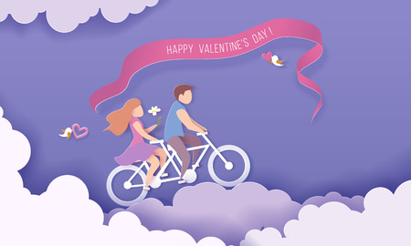 Illustration pour Valentines day card with couple riding bicycle over clouds on purple sky background. Vector paper art illustration. Paper cut and craft style. - image libre de droit