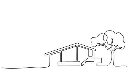 Illustration for Continuous one line drawing. Modern house with tree, building, residential building concept, logo, symbol, construction Vector illustration - Royalty Free Image