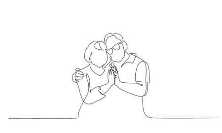 Illustration pour Romantic elderly couple. Old grandfather and grandmother. Continuous one line drawing. Vector illustration hand drawn. - image libre de droit