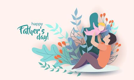 Illustration pour Young man with his baby playing. Happy fathers day card. Paper cut style. Vector illustration - image libre de droit
