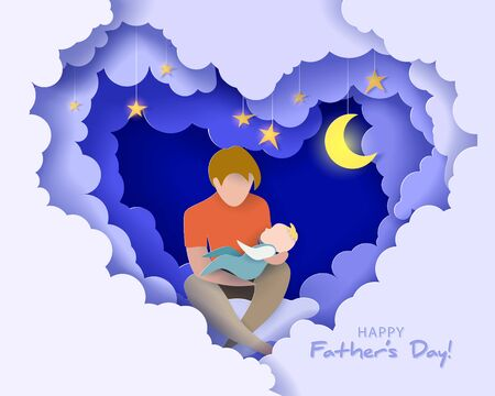 Illustration for Young man with his baby dreaming at the night. Happy fathers day card. Paper cut style. Vector illustration - Royalty Free Image