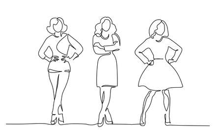 Illustration for Three slender girls standing. Continuous one line drawing. Vector illustration - Royalty Free Image