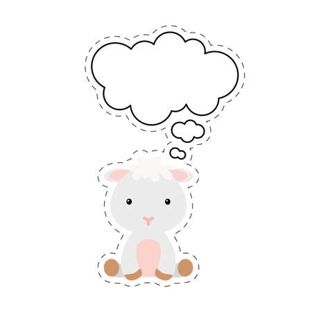Illustration pour Cute cartoon sheep with speech bubble sticker. Kawaii character on white background. Cartoon sitting animal postcard clipart for birthday, baby shower, party event. Vector stock illustration. - image libre de droit