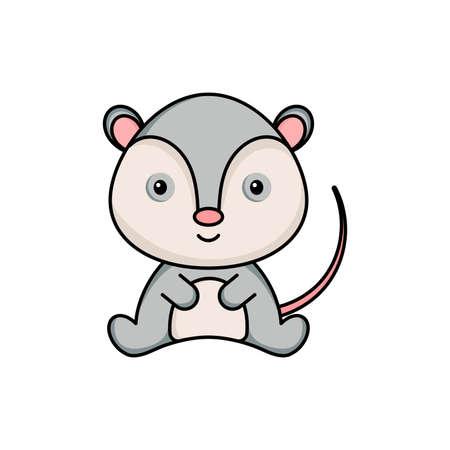 Illustration pour Cute business opossum icon on white background. Mascot cartoon animal character design of album, scrapbook, greeting card, invitation, flyer, sticker, card. Flat vector stock illustration. - image libre de droit