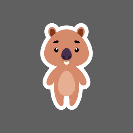 Illustration pour Cute little baby capybara sticker. Cartoon animal character for kids cards, baby shower, birthday invitation, house interior. Bright colored childish vector illustration in cartoon style. - image libre de droit