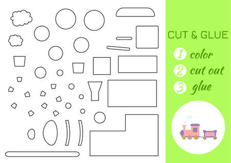Illustration pour Color, cut and glue paper pink train. Cut and paste craft activity page. Educational game for preschool children. DIY worksheet. Kids logic game, activities jigsaw. Vector stock illustration. - image libre de droit