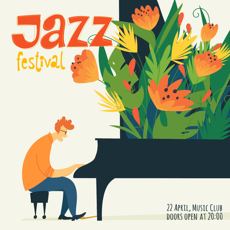Illustration pour Vector jazz poster illustration with a musician character playing jazz or classical music. Cool jazz card or poster. - image libre de droit