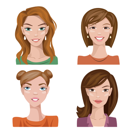 Illustration for Set of vector stylized color female characters. Vector avatars. Cool women vector portraits.  - Royalty Free Image