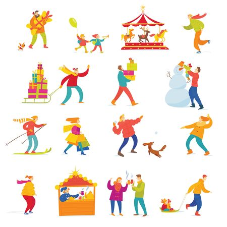 Illustration for Big set of vector people doing shopping and winter holiday Christmas activities. - Royalty Free Image