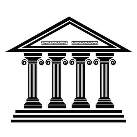 silhouettes of ancient columns on a white background