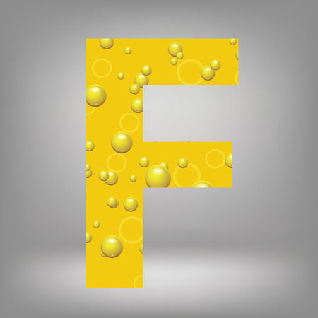 colorful illustration with beer letter F on a grey background