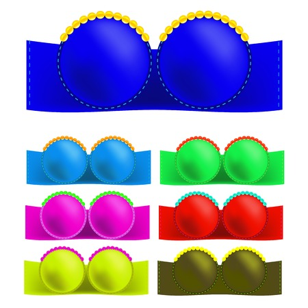 Set of Colorful Bras Isolated on White Background