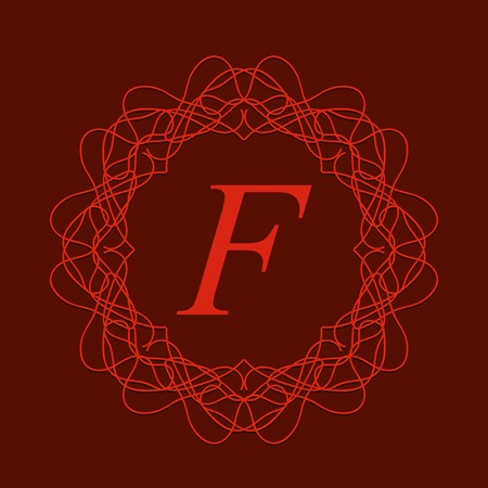 Simple  Monogram Design Template on Red Background