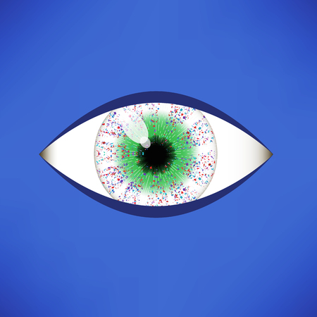 Green Eye Icon Isolated on Soft Blue Background